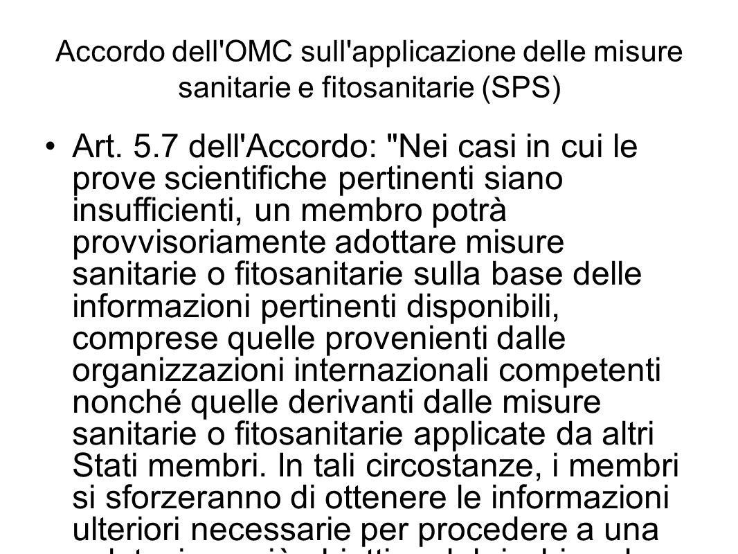 Accordo dell OMC sull applicazione delle misure sanitarie e fitosanitarie (SPS)