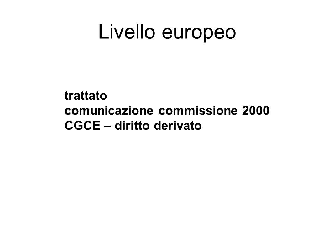 Livello europeo trattato comunicazione commissione 2000 CGCE – diritto derivato
