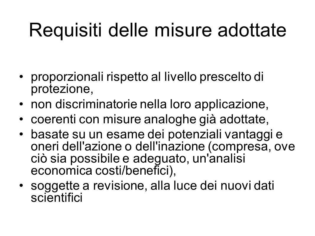 Requisiti delle misure adottate