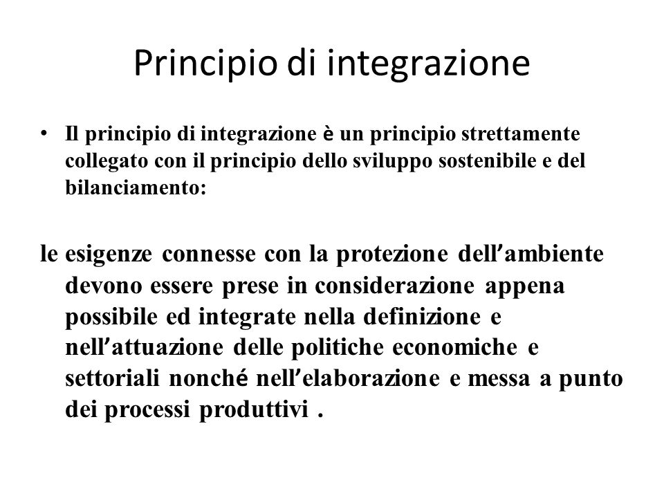 Principio di integrazione