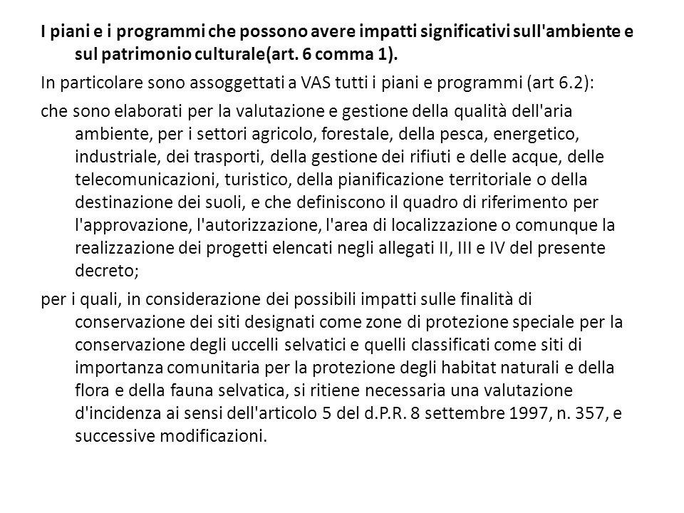 I piani e i programmi che possono avere impatti significativi sull ambiente e sul patrimonio culturale(art. 6 comma 1).