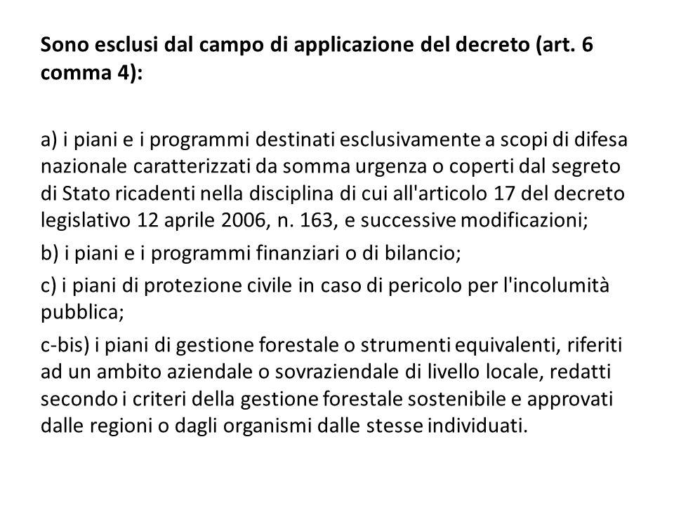 Sono esclusi dal campo di applicazione del decreto (art. 6 comma 4):
