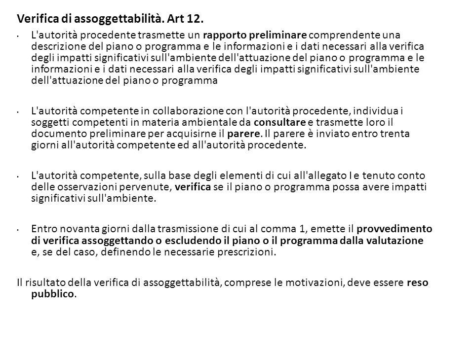 Verifica di assoggettabilità. Art 12.