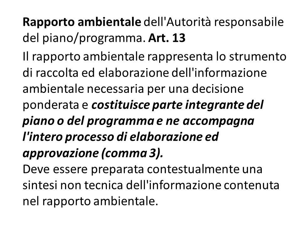 Rapporto ambientale dell Autorità responsabile del piano/programma. Art. 13