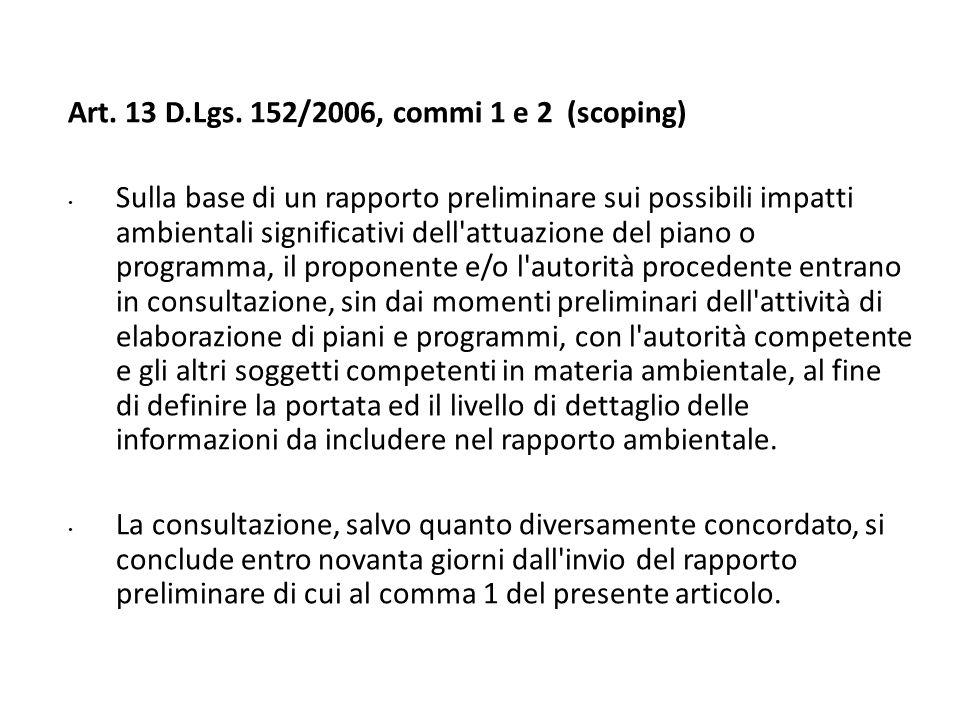 Art. 13 D.Lgs. 152/2006, commi 1 e 2 (scoping)