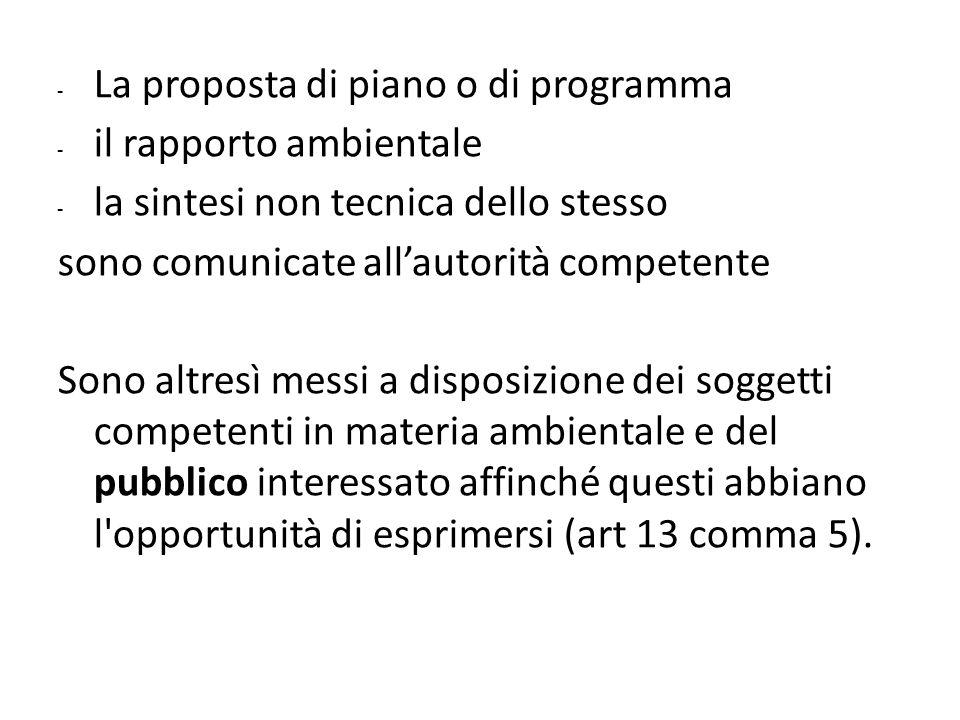 La proposta di piano o di programma