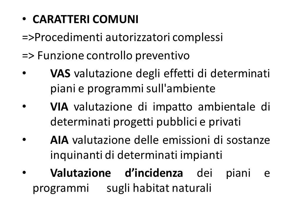 CARATTERI COMUNI =>Procedimenti autorizzatori complessi. => Funzione controllo preventivo.