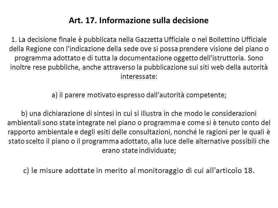 Art. 17. Informazione sulla decisione 1