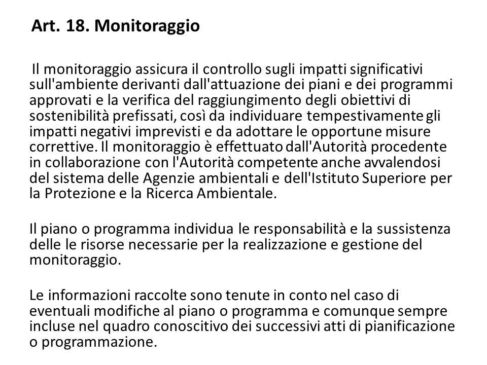 Art. 18. Monitoraggio