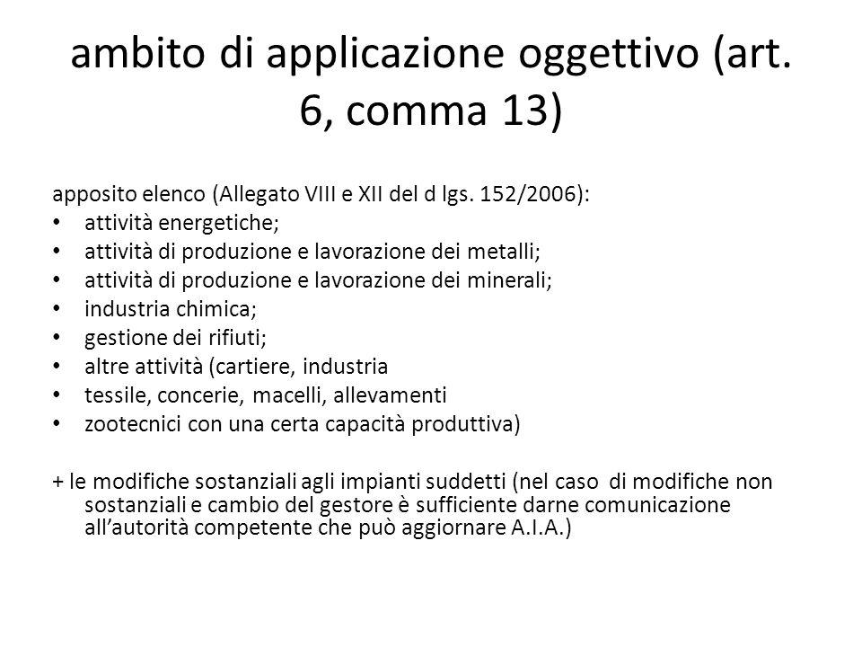 ambito di applicazione oggettivo (art. 6, comma 13)