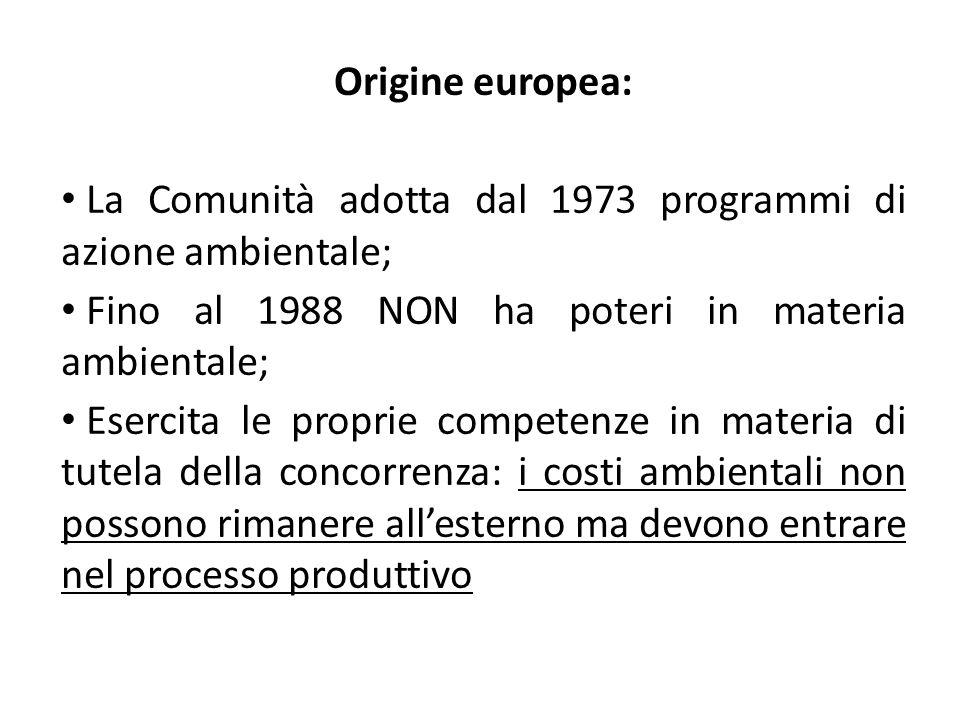 La Comunità adotta dal 1973 programmi di azione ambientale;