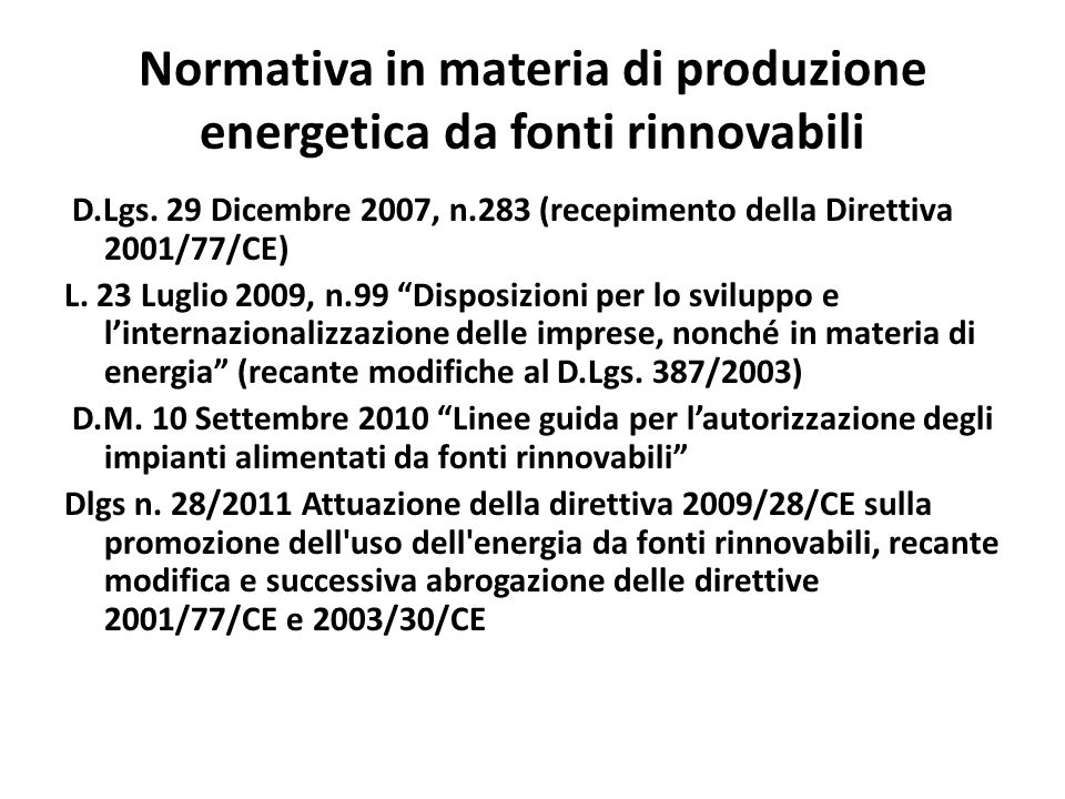 Normativa in materia di produzione energetica da fonti rinnovabili