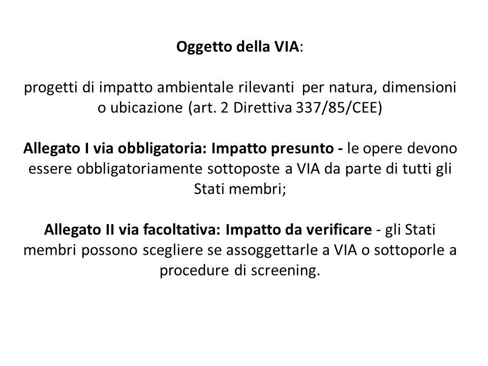Oggetto della VIA: progetti di impatto ambientale rilevanti per natura, dimensioni o ubicazione (art.
