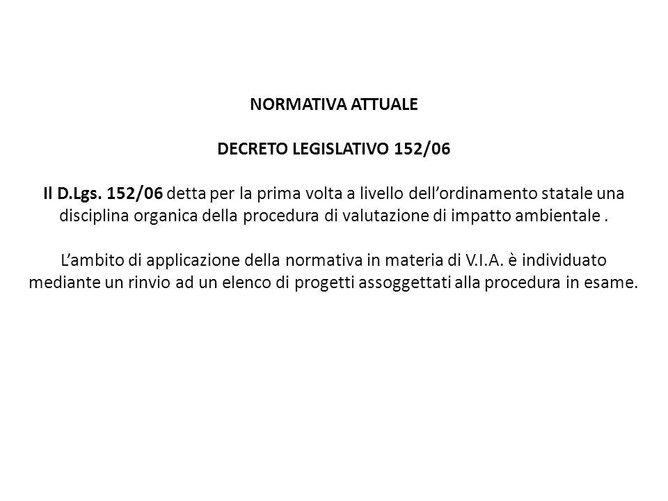 NORMATIVA ATTUALE DECRETO LEGISLATIVO 152/06 Il D. Lgs