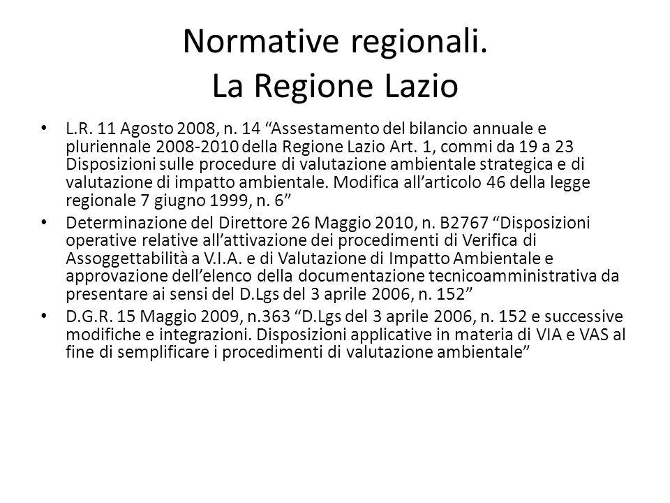 Normative regionali. La Regione Lazio