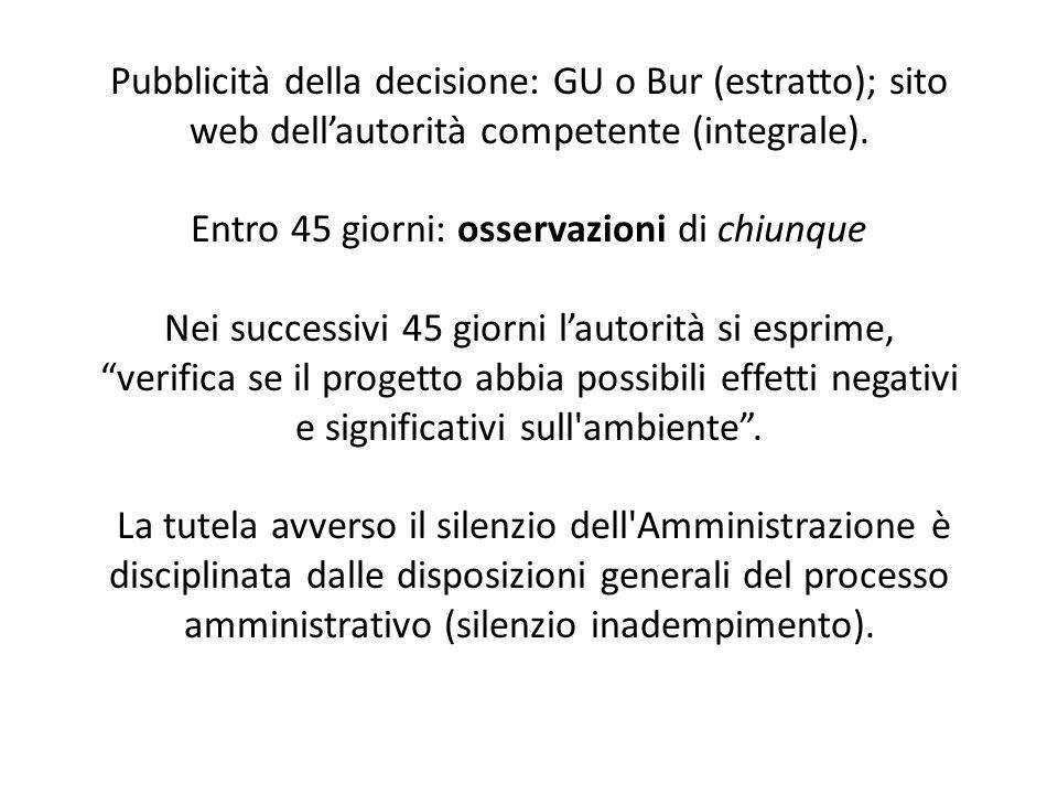 Pubblicità della decisione: GU o Bur (estratto); sito web dell'autorità competente (integrale).