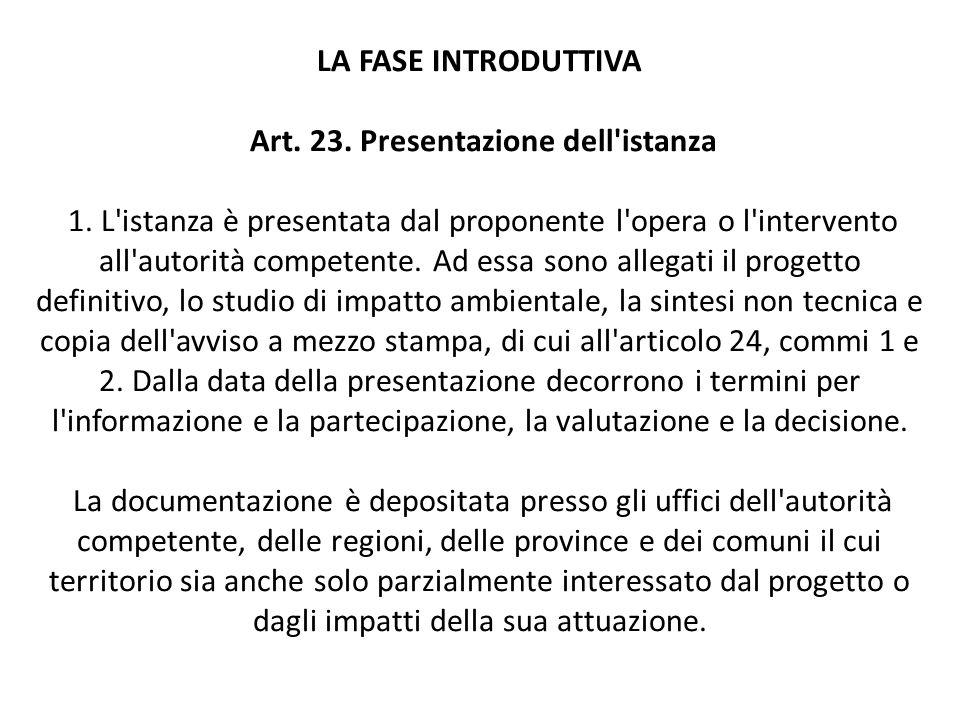 LA FASE INTRODUTTIVA Art. 23. Presentazione dell istanza 1