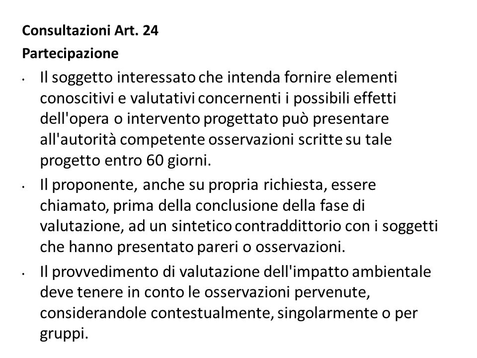 Consultazioni Art. 24 Partecipazione.