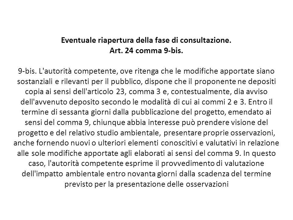 Eventuale riapertura della fase di consultazione. Art. 24 comma 9-bis