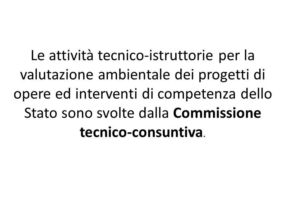 Le attività tecnico-istruttorie per la valutazione ambientale dei progetti di opere ed interventi di competenza dello Stato sono svolte dalla Commissione tecnico-consuntiva.
