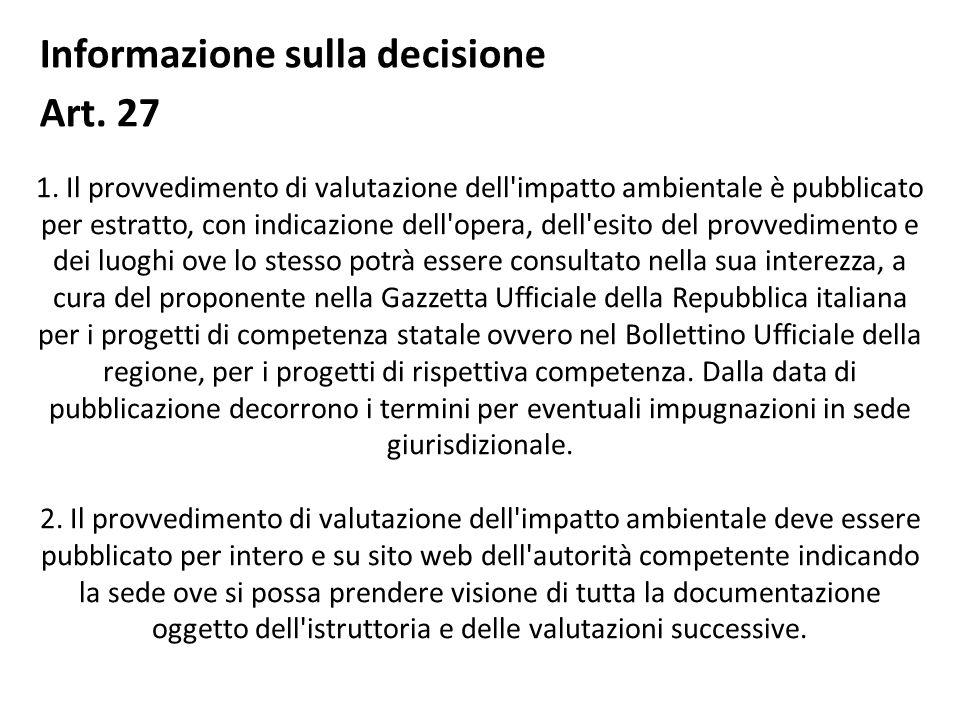 Informazione sulla decisione Art. 27