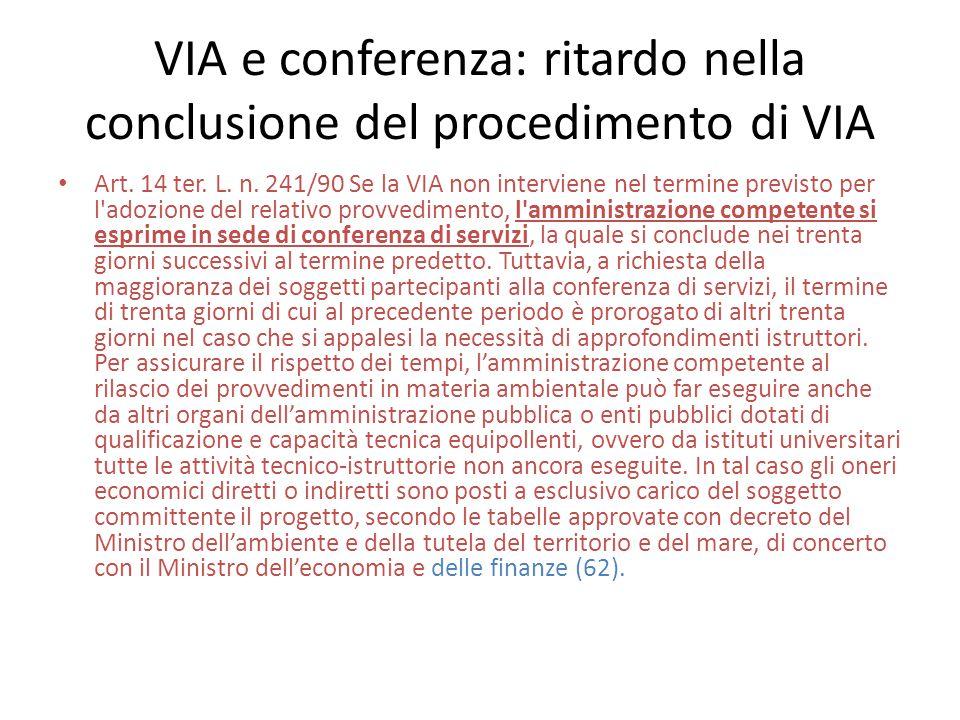 VIA e conferenza: ritardo nella conclusione del procedimento di VIA