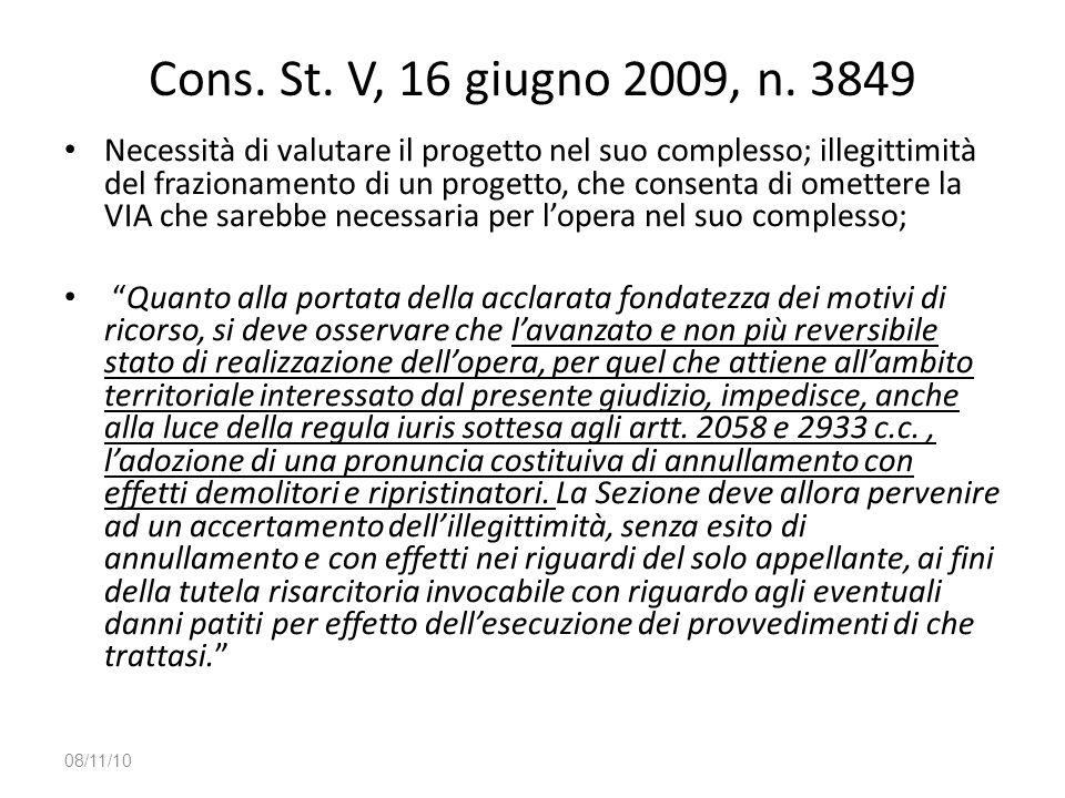 Cons. St. V, 16 giugno 2009, n. 3849