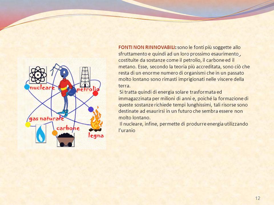 FONTI NON RINNOVABILI: sono le fonti più soggette allo sfruttamento e quindi ad un loro prossimo esaurimento , costituite da sostanze come il petrolio, il carbone ed il metano.