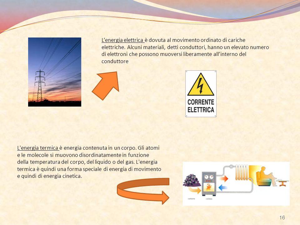 L'energia elettrica è dovuta al movimento ordinato di cariche elettriche. Alcuni materiali, detti conduttori, hanno un elevato numero di elettroni che possono muoversi liberamente all'interno del conduttore