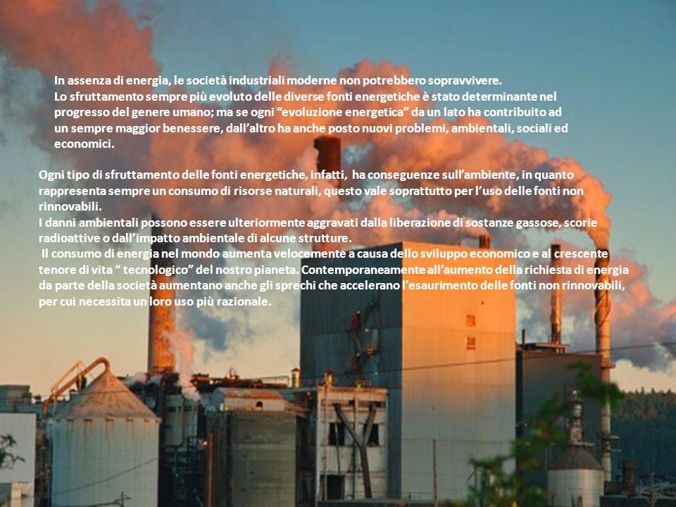 In assenza di energia, le società industriali moderne non potrebbero sopravvivere.
