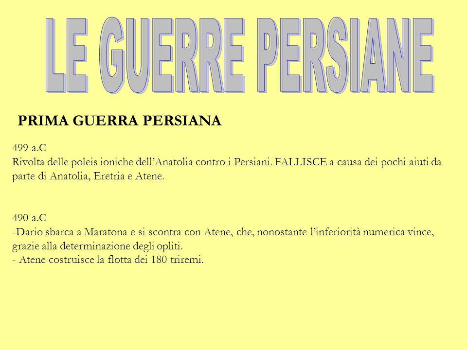 LE GUERRE PERSIANE PRIMA GUERRA PERSIANA 499 a.C