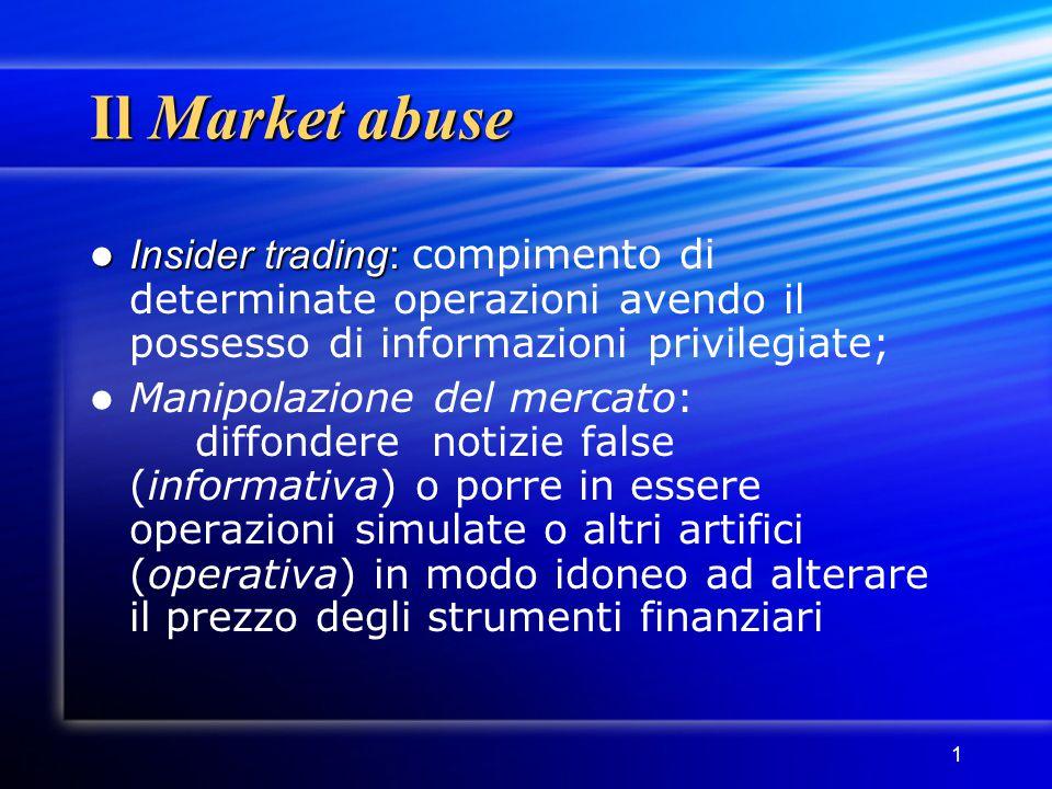 Il Market abuse Insider trading: compimento di determinate operazioni avendo il possesso di informazioni privilegiate;