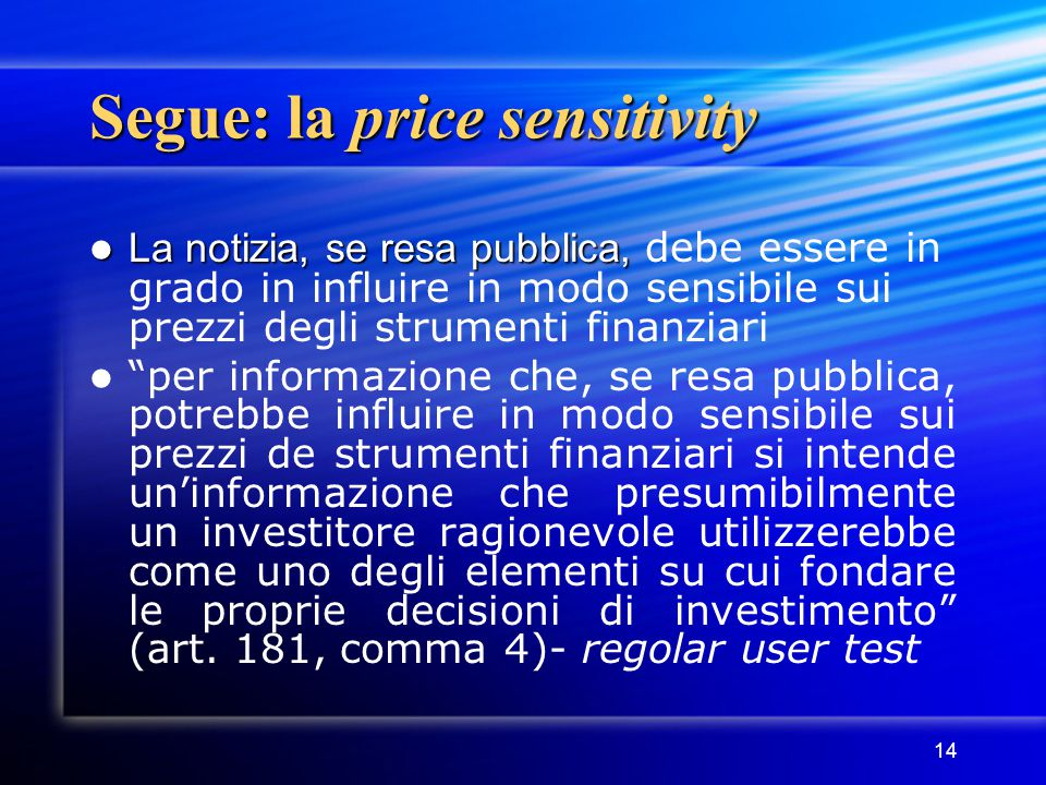 Segue: la price sensitivity