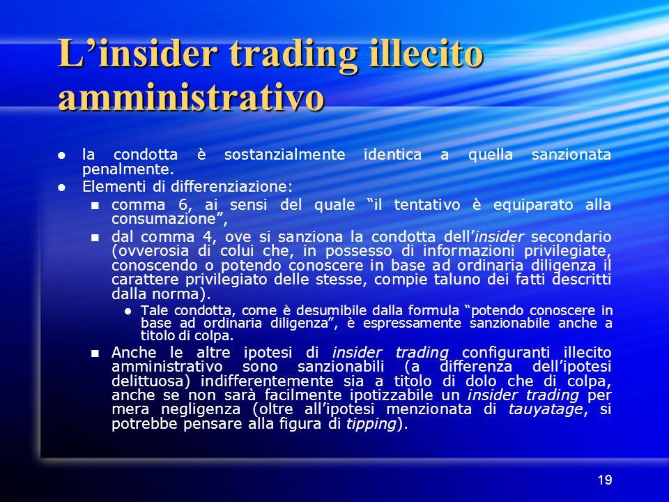 L'insider trading illecito amministrativo