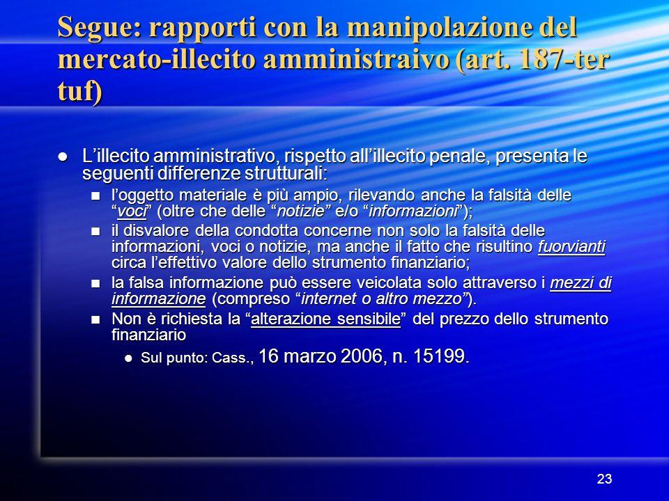 Segue: rapporti con la manipolazione del mercato-illecito amministraivo (art. 187-ter tuf)