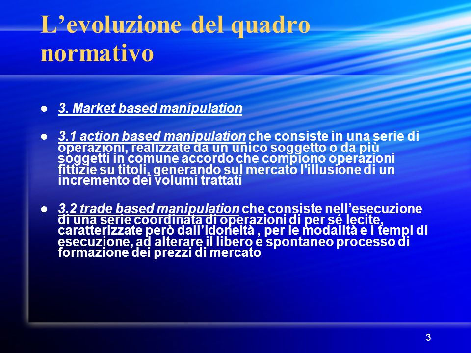 L'evoluzione del quadro normativo