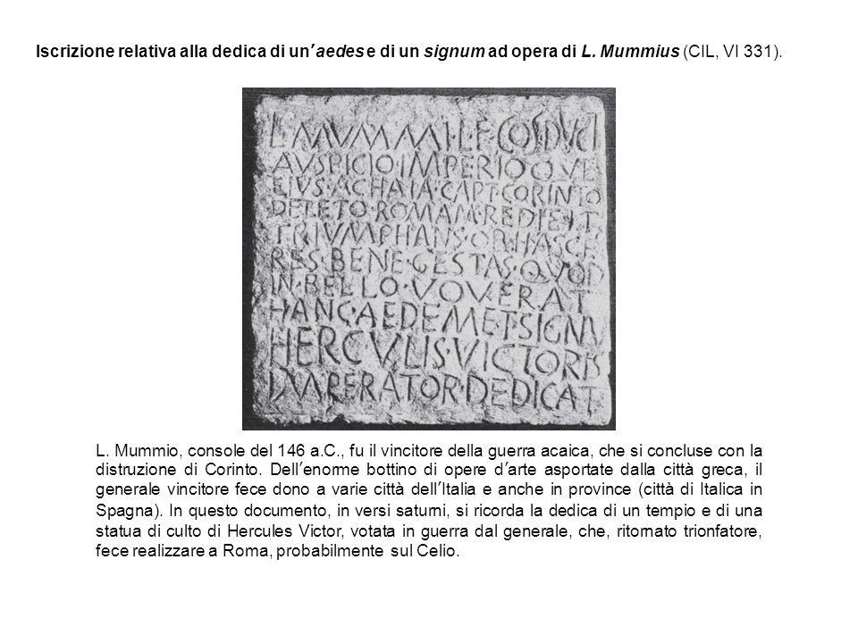 Iscrizione relativa alla dedica di un'aedes e di un signum ad opera di L. Mummius (CIL, VI 331).