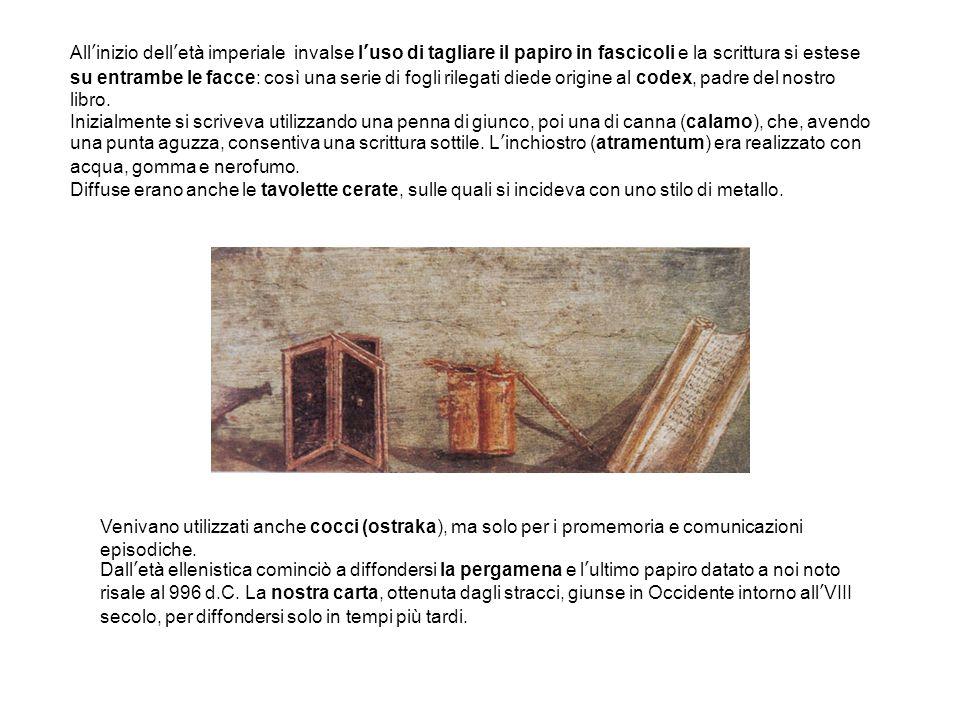 All'inizio dell'età imperiale invalse l'uso di tagliare il papiro in fascicoli e la scrittura si estese su entrambe le facce: così una serie di fogli rilegati diede origine al codex, padre del nostro libro.