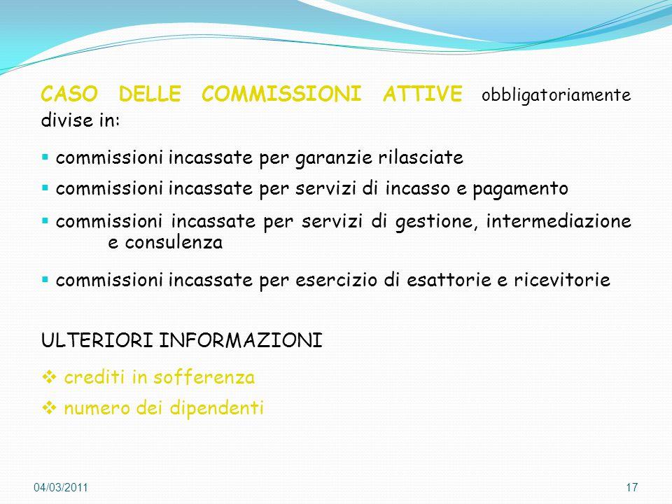 CASO DELLE COMMISSIONI ATTIVE obbligatoriamente divise in: