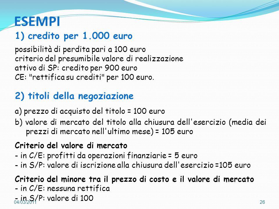 ESEMPI 1) credito per 1.000 euro 2) titoli della negoziazione