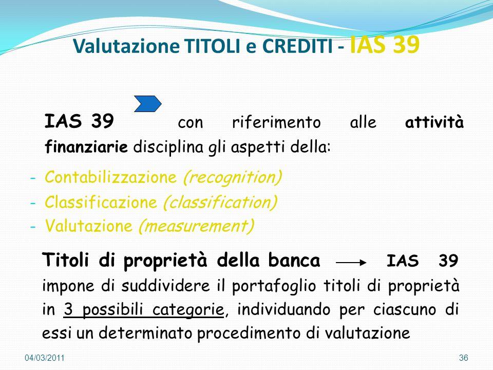Valutazione TITOLI e CREDITI - IAS 39