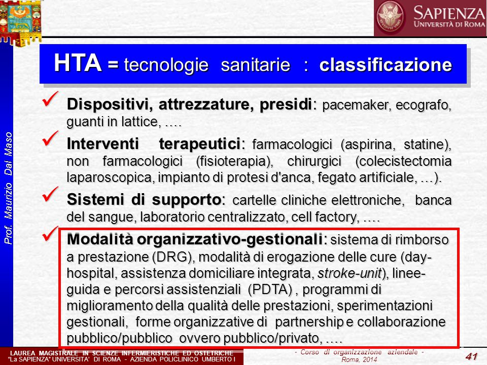 HTA = tecnologie sanitarie : classificazione