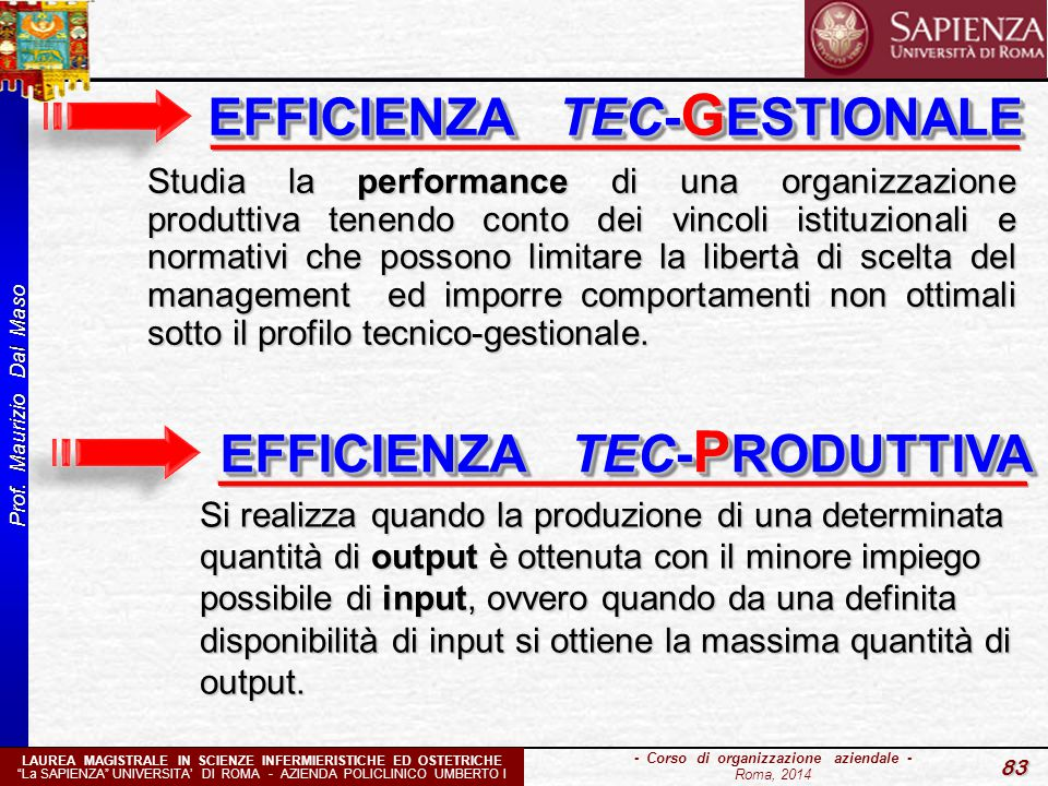 EFFICIENZA TEC-GESTIONALE EFFICIENZA TEC-PRODUTTIVA