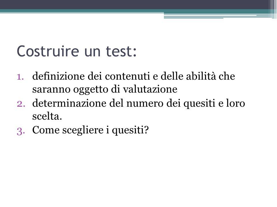 Costruire un test: definizione dei contenuti e delle abilità che saranno oggetto di valutazione.
