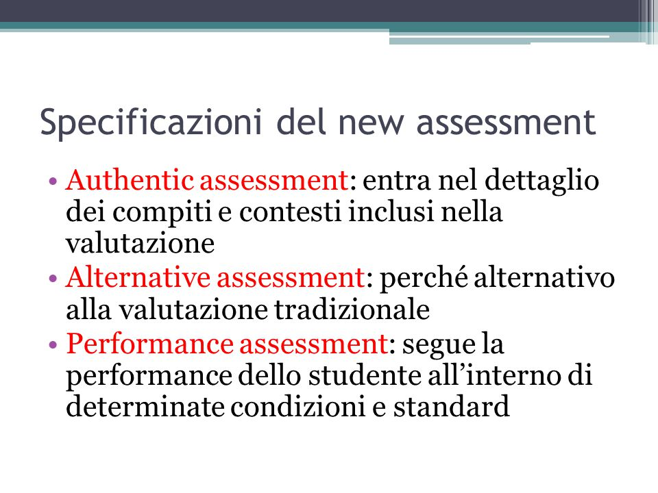 Specificazioni del new assessment