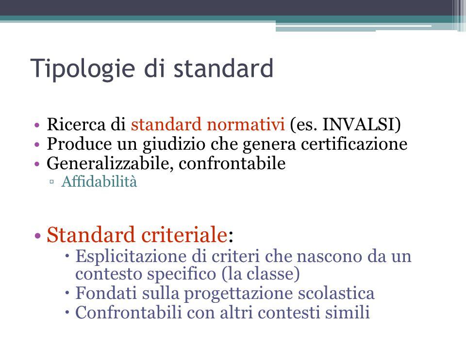 Tipologie di standard Standard criteriale: