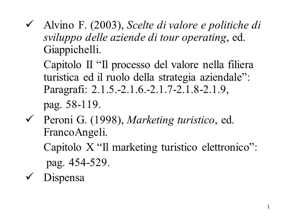 Alvino F. (2003), Scelte di valore e politiche di sviluppo delle aziende di tour operating, ed. Giappichelli.
