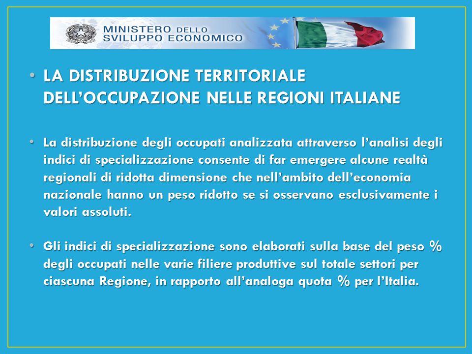 LA DISTRIBUZIONE TERRITORIALE DELL'OCCUPAZIONE NELLE REGIONI ITALIANE