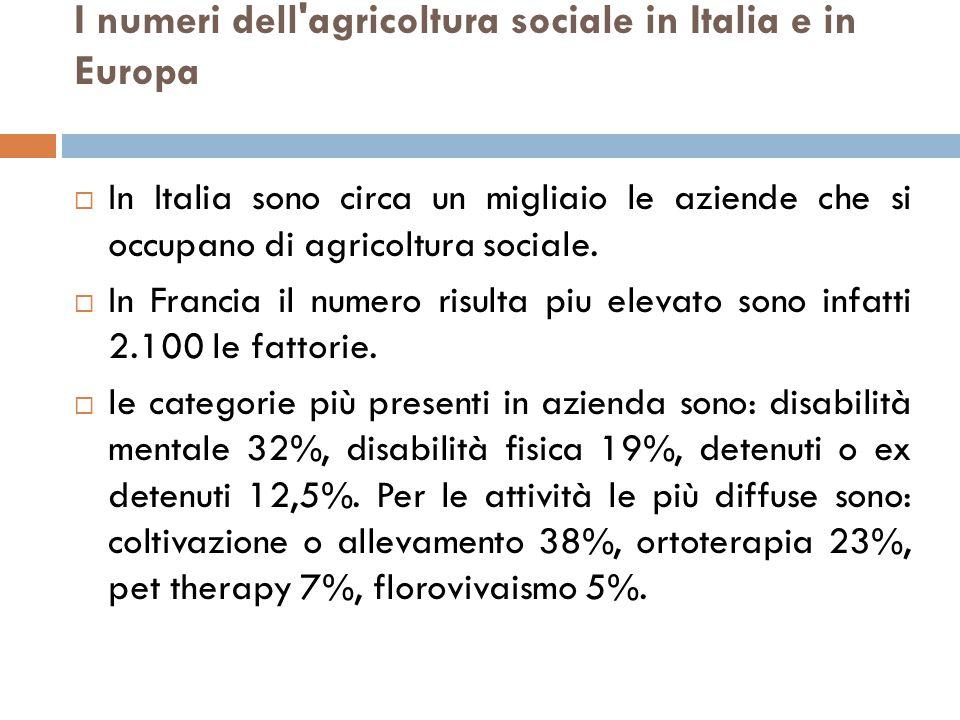 I numeri dell agricoltura sociale in Italia e in Europa