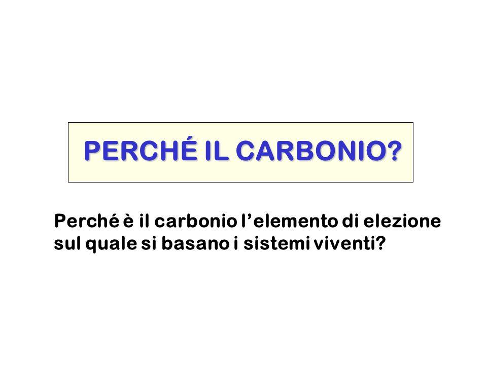 PERCHÉ IL CARBONIO Perché è il carbonio l'elemento di elezione
